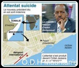 voir le zoom : Carte de localisation de l'aéroport de Mogadiscio près duquel le président élu a échappé à un attentat